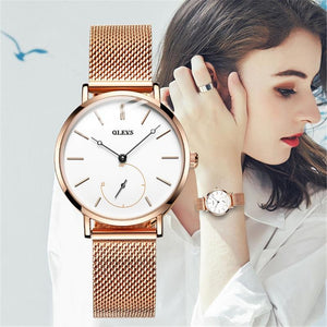 Mesh Rose Gold Plated Watch With Casual Bracelet - The Trendy Accessories Store