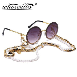 Vintage Round Sunglasses Women with Pearl Chain Accessory  Luxury - The Trendy Accessories Store