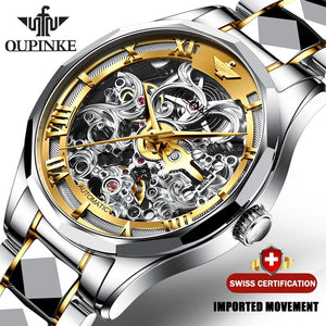Luxury Men Automatic Mechanical Watch Skeleton Tungsten Steel - The Trendy Accessories Store