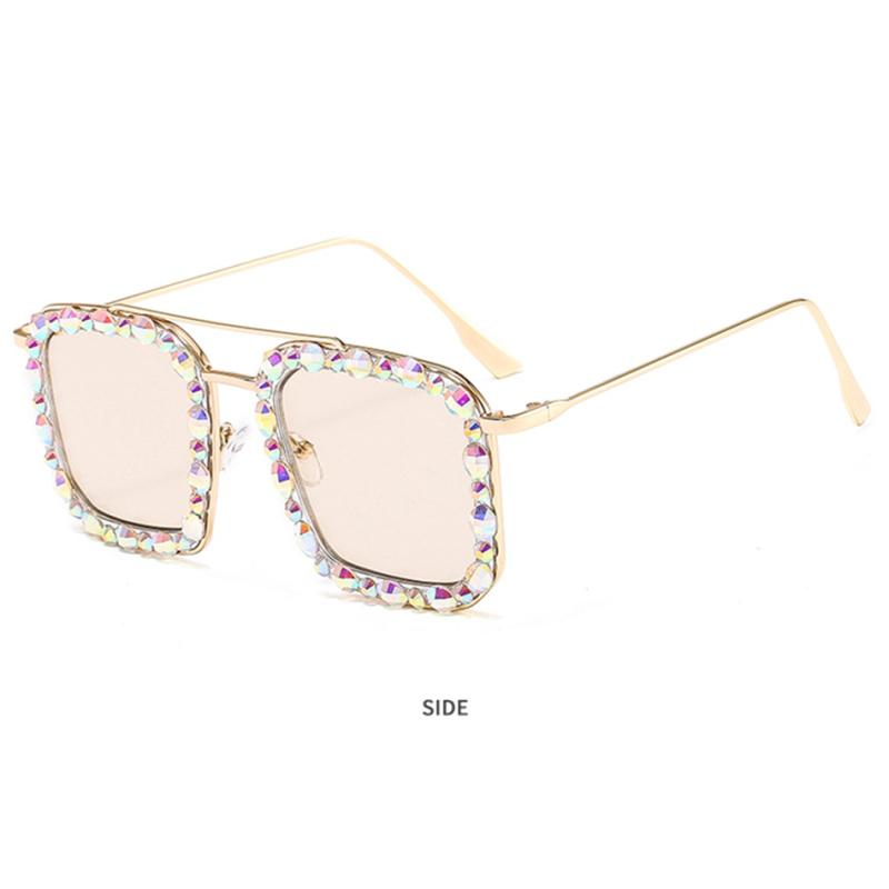 Oversized Square Sunglasses Ocean Lens Rhinestone Crystal Sunglasses - The Trendy Accessories Store