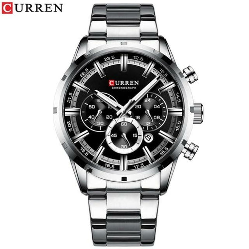 Premium Curren Blue Stainless Steel with Gold Plated Luxury Watch - The Trendy Accessories Store