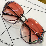 Rimless Luxury Sunglasses Women Vintage Bling Sun Glasses Shades - The Trendy Accessories Store