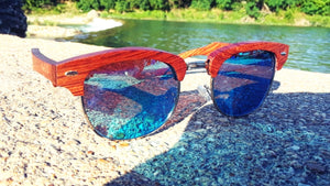 Real Sandalwood Sunglasses, Ice Blue Polarized Lenses - The Trendy Accessories Store
