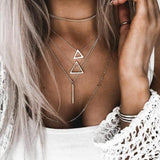 Double Triangle Multilayer Necklace - The Trendy Accessories Store