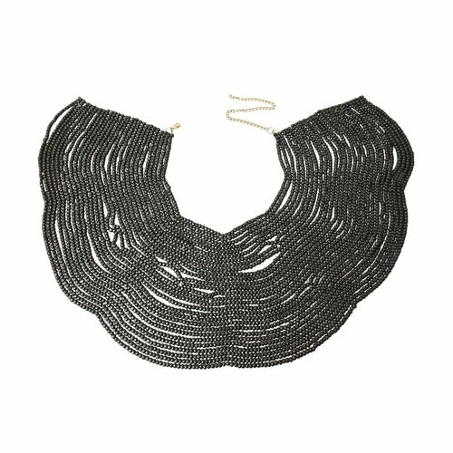 Wooden Bead Shoulder Drape Necklace - The Trendy Accessories Store