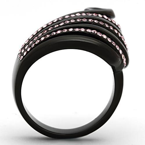 Ion Plated Black Stainless Steel Ring with Rose Crystal - The Trendy Accessories Store