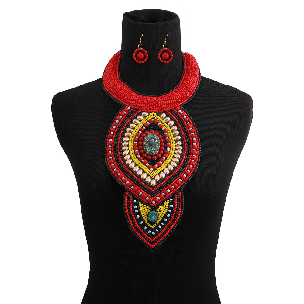 Black and Red Beaded Bib Necklace Set - The Trendy Accessories Store
