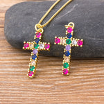 Load image into Gallery viewer, Rainbow Cross Necklace