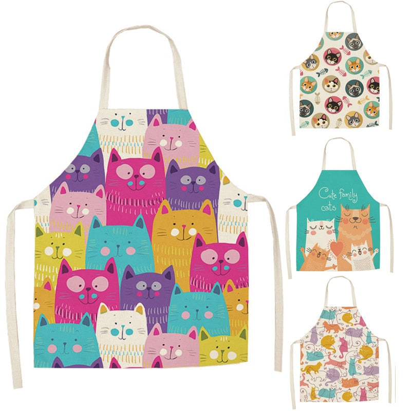 1 Pcs Kitchen Apron Cute Cartoon Cat Printed Sleeveless Cotton Linen Aprons for Men Women Home Cleaning Tools 66x47cm 47x38cm