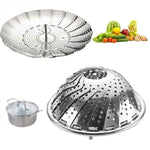 Load image into Gallery viewer, Folding Dish Steam Stainless Steel Food Steamer Basket Mesh Vegetable Cooker Steamer Expandable Pannen Kitchen Tool