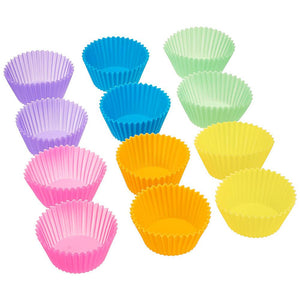 12pcs/Set Silicone Cake Mold Round Shaped Muffin Cupcake Baking Molds Kitchen Cooking Bakeware Maker DIY Cake Decorating Tools