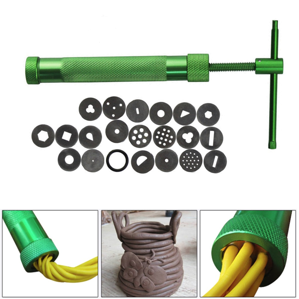 19 Discs Clay Fimo Extruder High Quality Green Cake Sculpture Craft Sugar Paste Extruder Fondant Craft Sculpt Modeling Tool