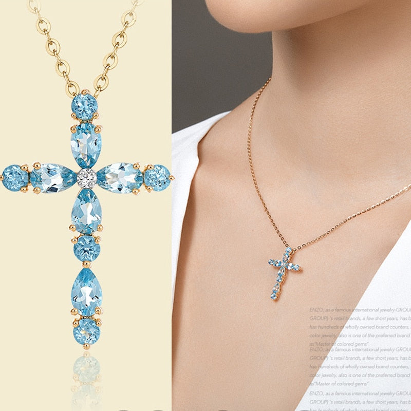 Blue Crystal Cross Necklace