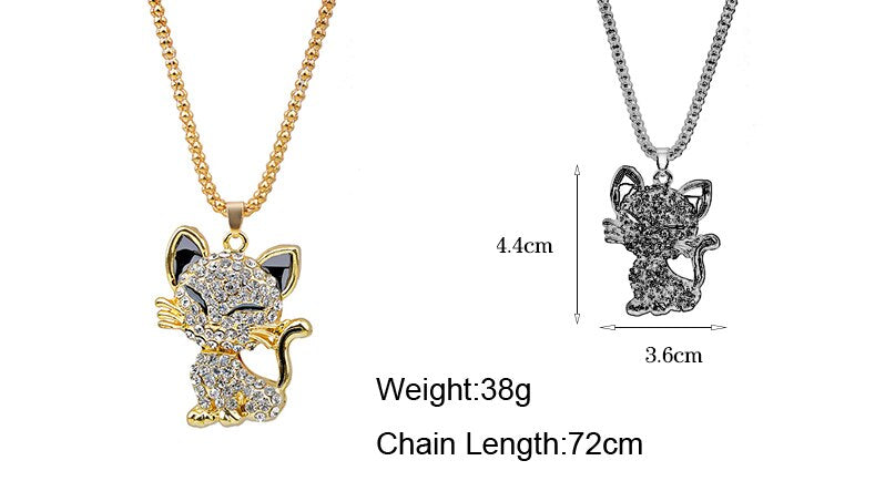 Rhinestone Cat Necklace