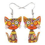 Load image into Gallery viewer, Colorful Cat Drop Earrings