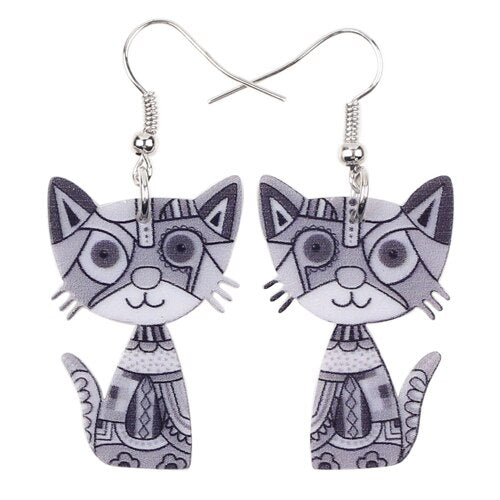 Colorful Cat Drop Earrings