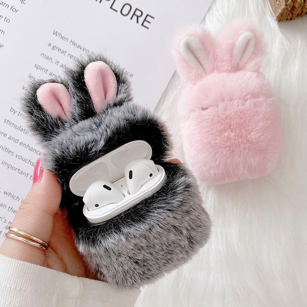 Soft Fur Rabbit Ear Case for AirPods