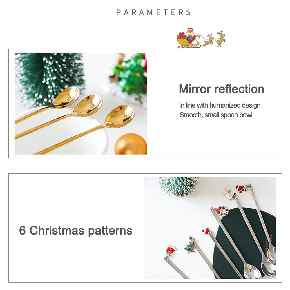 6pcs Stainless Christmas Spoon New Year 2021 Xmas Party Table Ornaments Coffee Stirrer Spoon Christmas Decorations for Home Gift