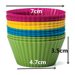 Load image into Gallery viewer, 12pcs/Set Silicone Cake Mold Round Shaped Muffin Cupcake Baking Molds Kitchen Cooking Bakeware Maker DIY Cake Decorating Tools
