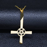Load image into Gallery viewer, Occult Pentagram Inverted Cross Necklaces