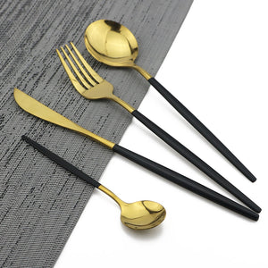 24Pcs Black Gold Cutlery Set Kitchen Tableware Set Stainless Steel Dinnerware Set Knife Fork Spoon Dinner Set Dishwasher Safe
