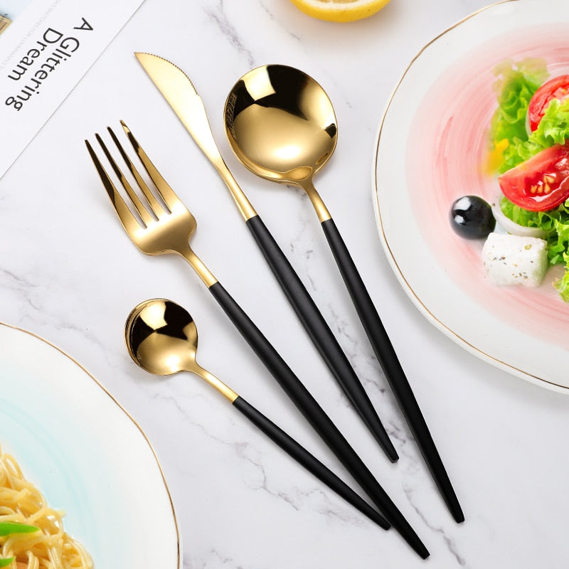 4Pcs/set Black Gold Cutlery Set 18/10 Stainless Steel Dinnerware Silverware Flatware Set Dinner Knife Fork Spoon Dropshipping