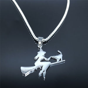 Witch Broom Cat Necklace