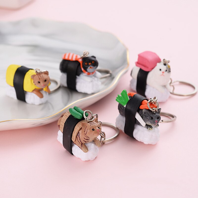 Cute Sushi Cat Keychain