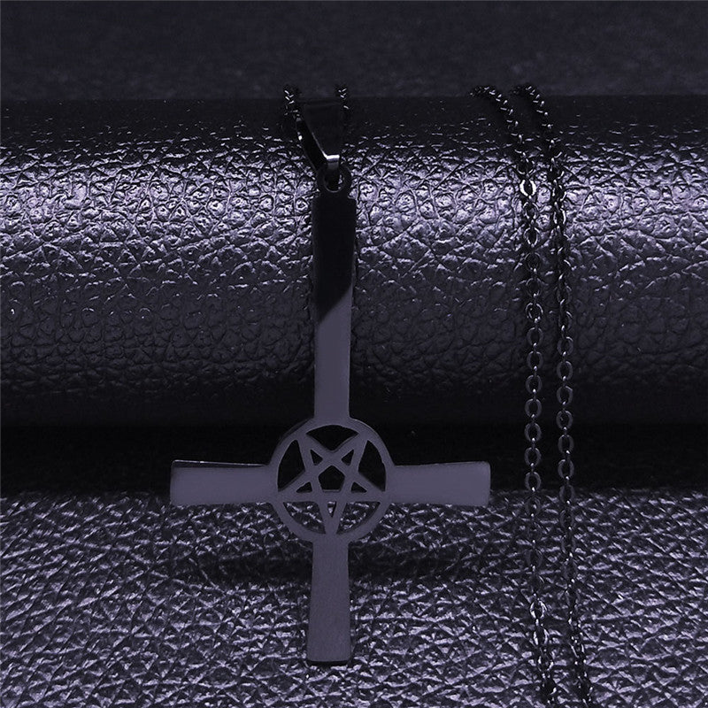Occult Pentagram Inverted Cross Necklaces