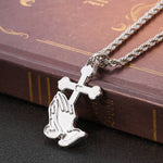 Load image into Gallery viewer, Praying Hands Cross Necklace