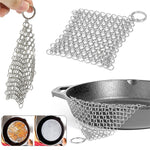 Load image into Gallery viewer, 1 Pcs Silver Stainless Steel Cast Iron Cleaner Chainmail Scrubber Home Cookware Kitchen Tool Clean Kitchen