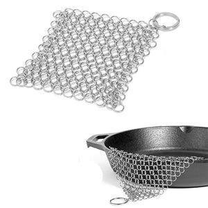 1 Pcs Silver Stainless Steel Cast Iron Cleaner Chainmail Scrubber Home Cookware Kitchen Tool Clean Kitchen