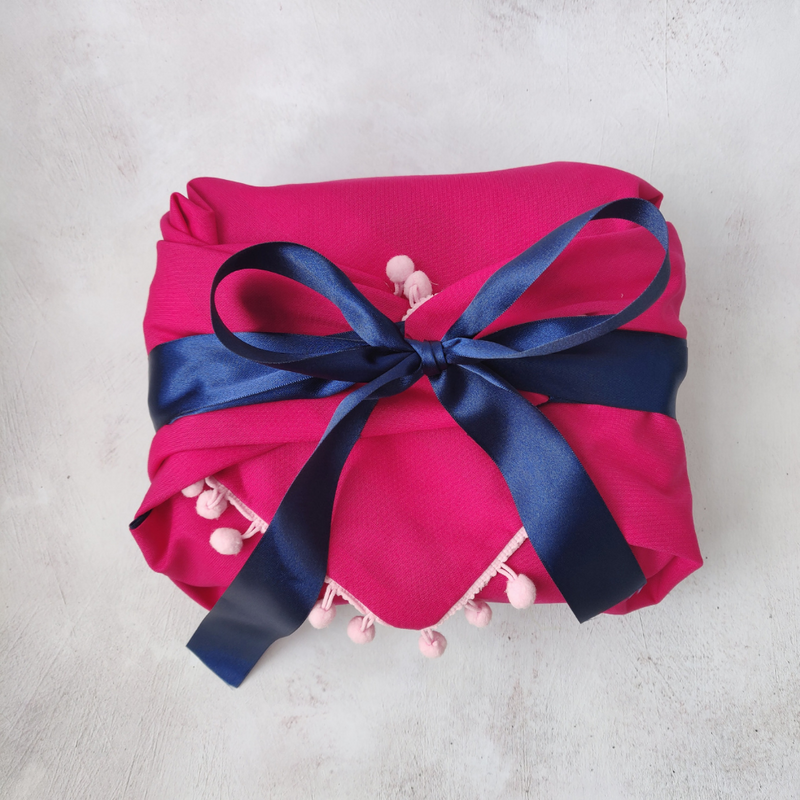 Ribbon Furoshiki - Hot Pink and Poms