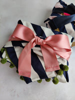 Ribbon Furoshiki - Navy & White Stripe