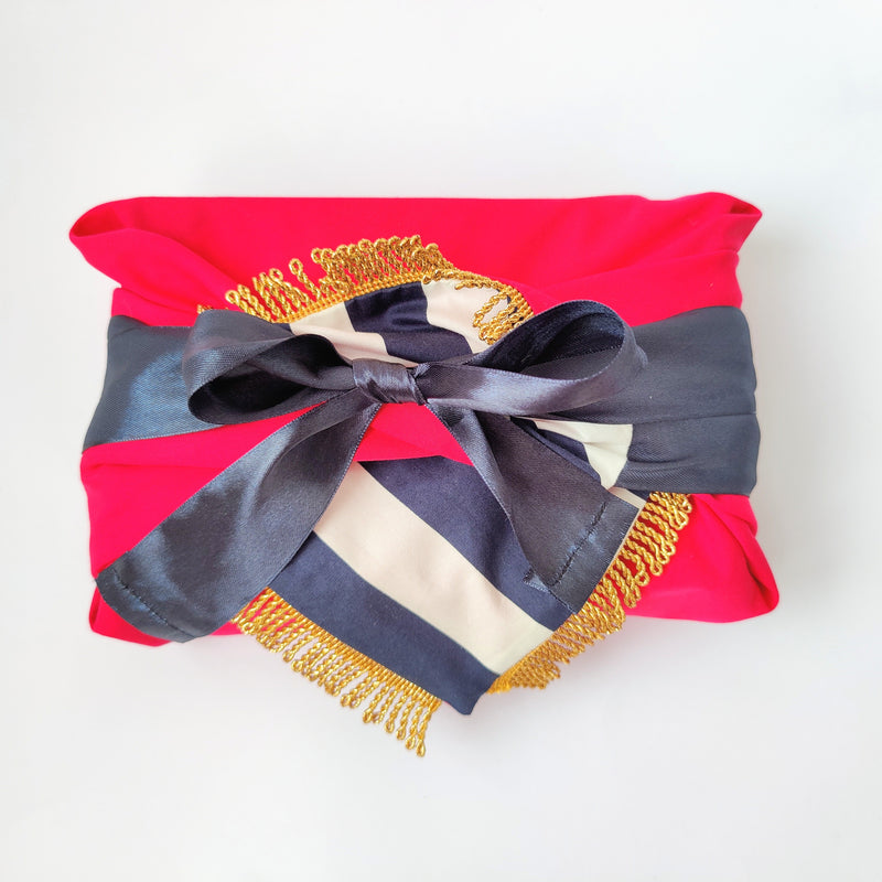 Fabric Gift Wrapping - Hot Pink & Golden Tassels