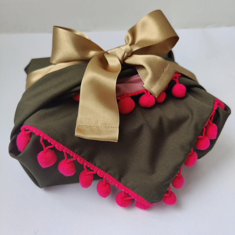 Fabric Gift Wrapping - Dusky Pink & Hot Pink poms