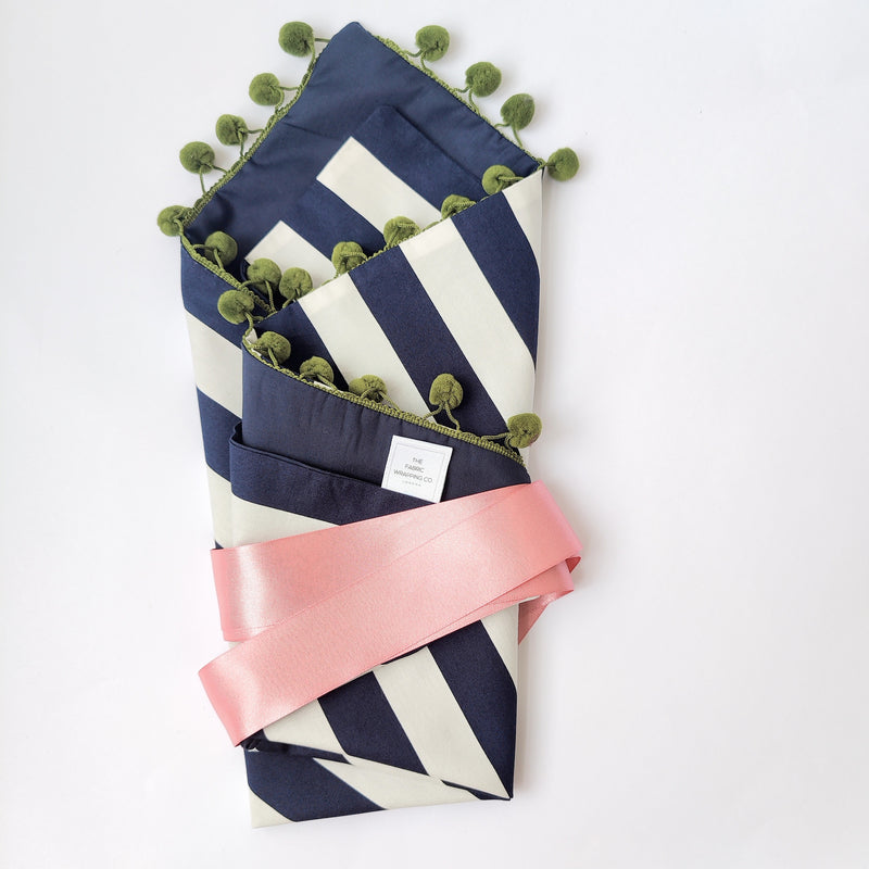 Fabric Gift Wrapping - Navy & White Stripe