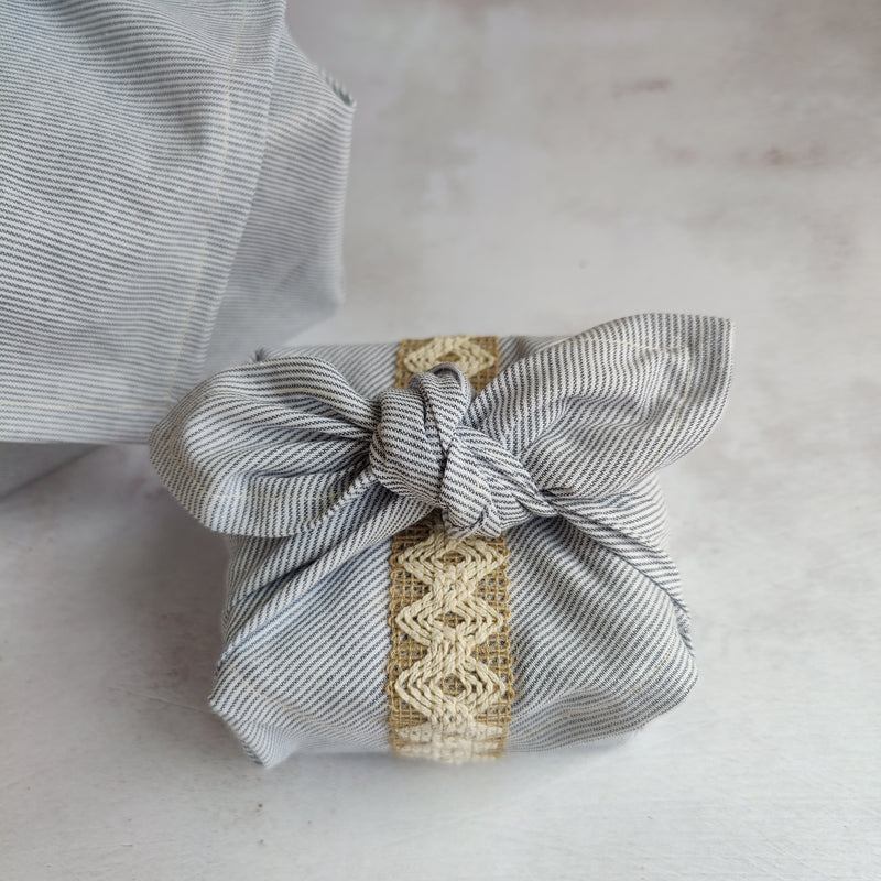 Furoshiki Fabric Gift Wrap - Blue and White Pinstripe