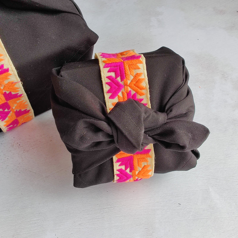 Furoshiki Fabric Gift Wrap - Black Organic Cotton