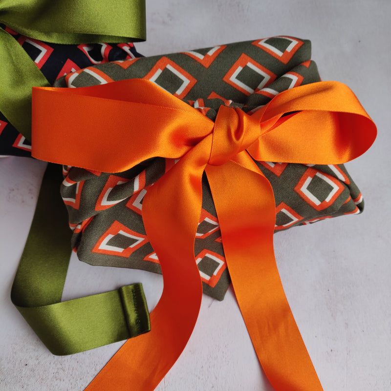 Fabric Gift Wrapping - Geometric Olive