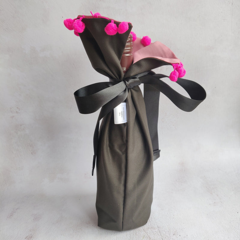 Wine Gift Bag - Grey with Hot Pink Pom Poms