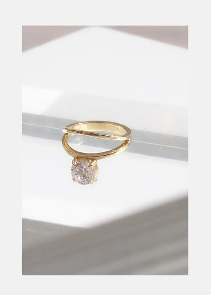 Floating Diamond Double Ring