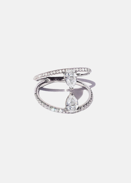Duét Pear Pavé Ring
