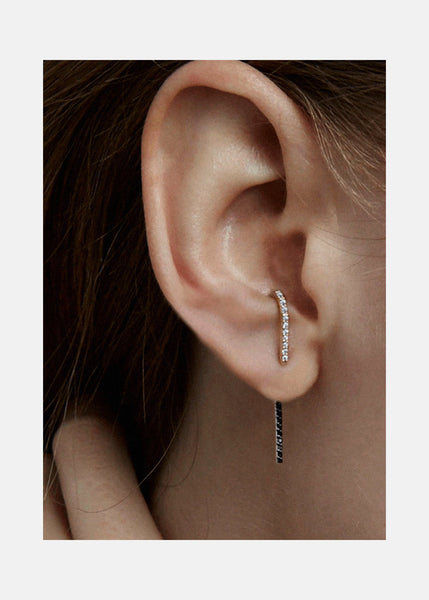 Petite B&W Diamond Thread Ear Pin