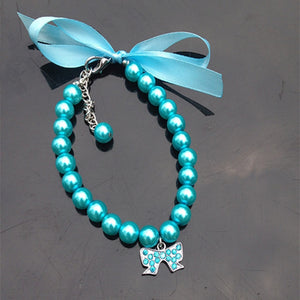 Pet Rhinestone Pearl Diamond Pendant Necklace For Small Dogs/Cats