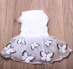 Pet Princess Dress Tutu Flowers & Butterfly Design