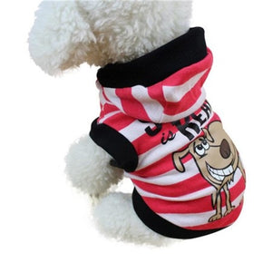 Cute Striped Pet Hooded Shirt