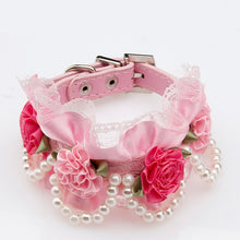 Load image into Gallery viewer, Pink Pearl and Leather Collar