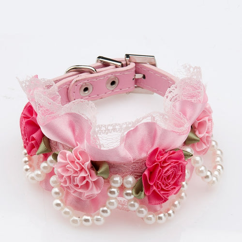 Pink Pearl and Leather Collar