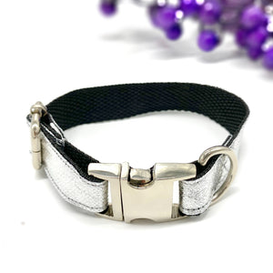 Suede and Silver Dog Collar & Bow Tie Set